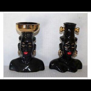Vintage African Lady Bud Vases